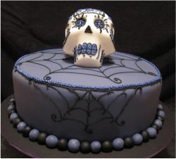 Very cool dark purple halloween cake photos.JPG