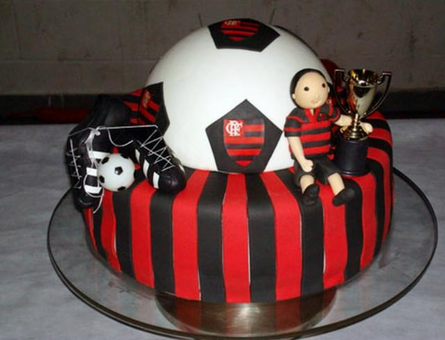 Soccer Theme Birthday Cake With Black Red Stripes And