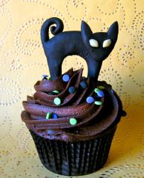 Chocolate cupcake with black cat topper.JPG