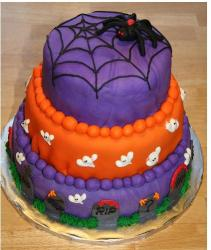 Colorful halloween cake in three tier.JPG