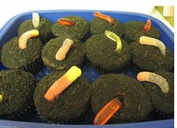 Dirt cupcakes with candy worms.JPG
