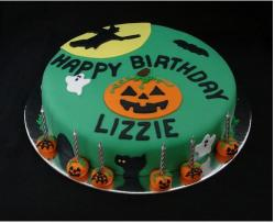 Halloween birthday cake in green.JPG