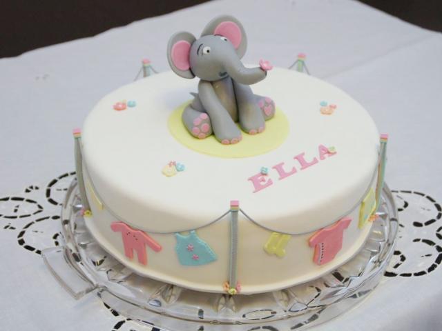 Cute Elephant Theme Baby Shower Cake With Clothlines For Girl.JPG