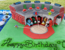 Thomas friends cakes with trains in the shed.PNG