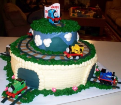Professional Thomas and friends birthday cakes with trains pictures.PNG