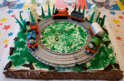 Square Thomas and friends on rails Sodor Island cakes images.PNG
