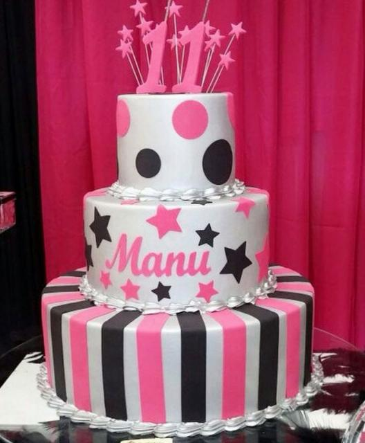 Sensational 3 Tier White Pink And Black Birthday Cake For 11 Year Old Jpg Funny Birthday Cards Online Elaedamsfinfo