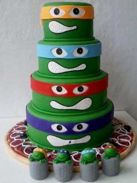 Creative Teenage Mutant Ninja Turtles Cake in 4 Tiers with