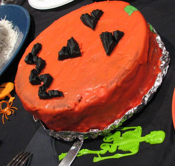 Orange cake for halloween with scary face.JPG