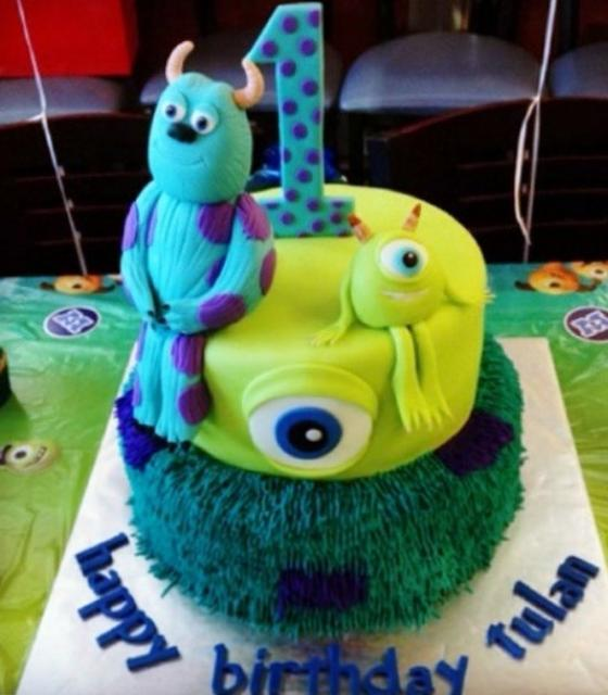 Monsters Inc First Birthday Cake In 2 Tiersg