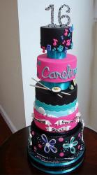 Sweet 16 5 Tier Birthday Cake for Girl with Sushi Beach & Musical Notes.JPG