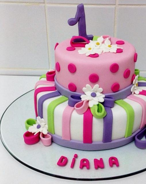 Garden Theme 2 Tier First Birthday CakeJPG