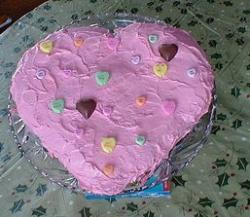 Pink heart cake for valentines day.JPG