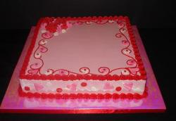 Pink square valentines day cake with beautiful decor.JPG
