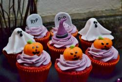 Halloween Theme Red Velvet Cupcakes with Tombstones Ghosts & Pumpkin.JPG