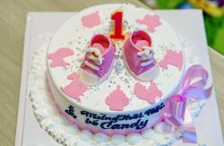Girl's First Birthday Cake with Pink Booties and Bow.JPG
