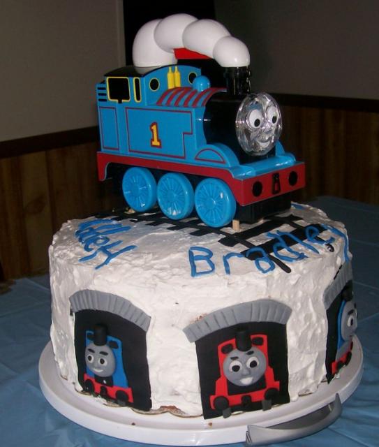 White Thomas The Train Birthday Cake With Toy Thomas Train