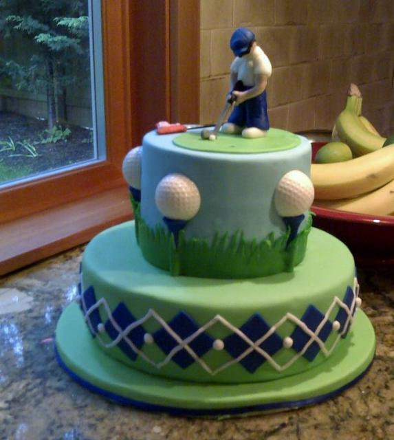 Golf Theme Birthday Cake In 2 Tiers With Golfer Putting On