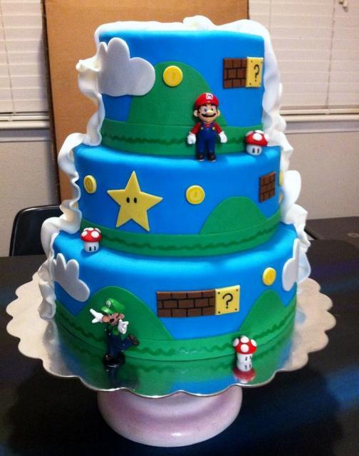 Nintendo Mario Brothers 3 Tier Birthday Cake With Luigi