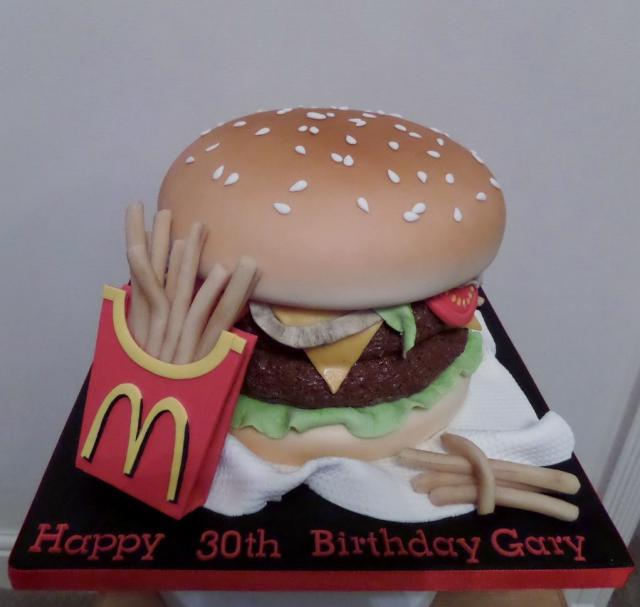 Mcdonalds Double Quarter Pounder 30th Birthday Cake With Friesg