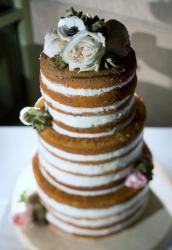 Mocha Cream 3 Tier Striped Small Wedding Cake.JPG