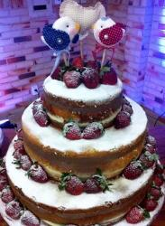 Chocolate Wedding Cake in 3 Tiers with Love Bird Toppers & Powdered Strawberries.JPG