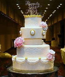 Classic Style 4 tier Round Wedding Cake with Happily Ever After Topper.JPG