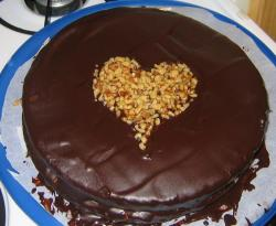 Chocolate valentines day cake with heart shape with nuts.JPG