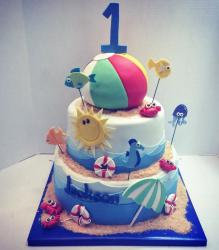 Beach Theme First Birthday Cake in 2 tiers with Beachball on top.JPG