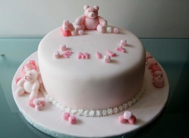 Pink Teddy Bear Theme Birthday Cake For 1 Year Old Girl