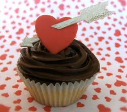 Chocolate valentines day cupcake with heart in the center.JPG