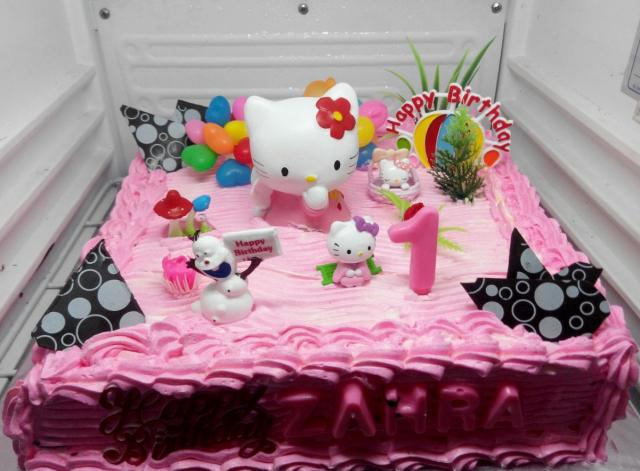 Magnificent Pink Strawberry Cream Hello Kitty First Birthday Cake Jpg Hi Res Funny Birthday Cards Online Inifodamsfinfo