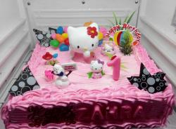 Pink Strawberry Cream Hello Kitty First Birthday Cake.JPG