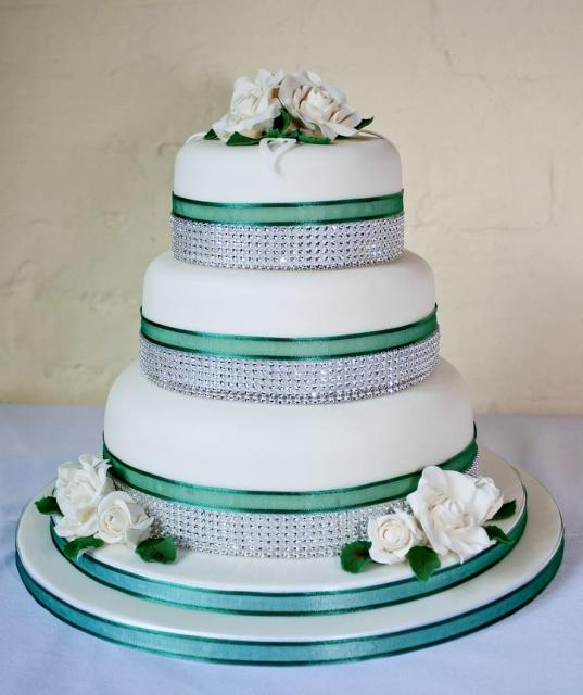 3 Tier Round White Wedding Cake With Tiffany Crystal Bands Amp White RosesJPG Hi Res 720p HD