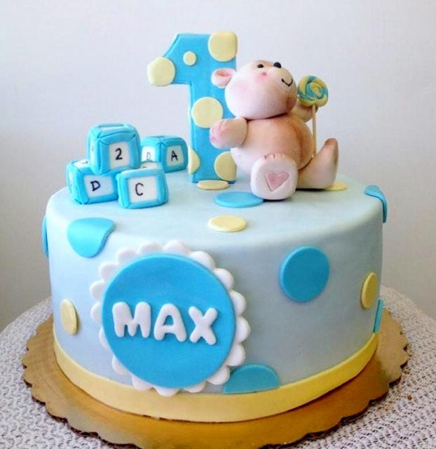 Cute First Birthday Cake For Boy With Teddy Bear & Blocks