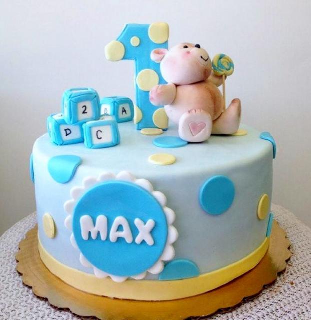 Cute First Birthday Cake For Boy With Teddy Bear Blocks Pokadots