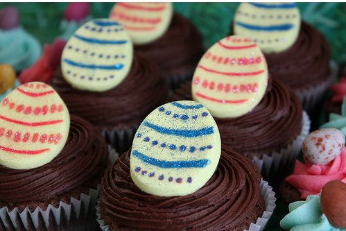 Easter cakes and cupcakes with eggs.JPG
