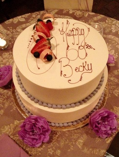 Ivory 2 Tier 60th Birthday Cake With Taro Beads And Fresh Berries On TopJPG