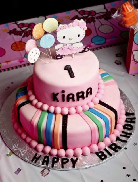 Phenomenal Pink 2 Tier Hello Kitty Theme First Birthday Cake Jpg Funny Birthday Cards Online Inifodamsfinfo