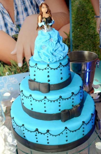 Princess Theme 3 Tier Blue 15th Birthday Cake Jpg Hi Res