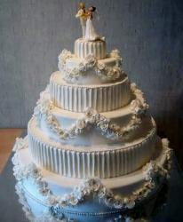 Elegant 6 Tier Wedding Cake with Bride & Groom Dancing Topper.JPG