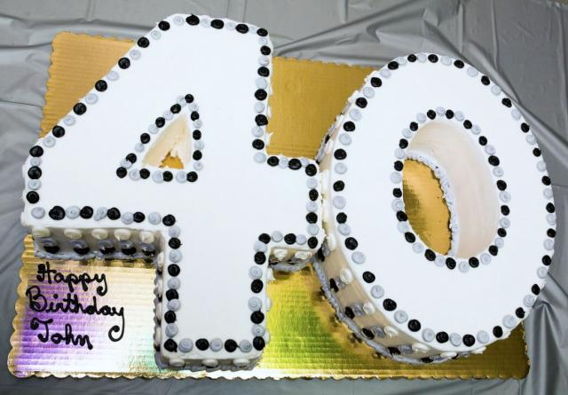 Fortieth Birthday Cake In The Shape Of Number 40JPG