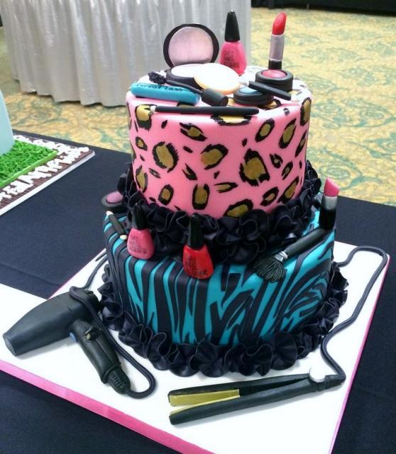 Women S Hair Style Amp Cosmetics Beauty Theme 2 Tier Cake