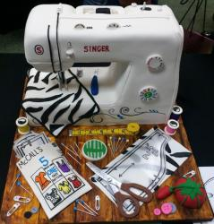Singer Sewing Machine Cake with Sewing Tools on Table.JPG