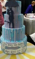Raining Day Theme 4 Tier Gray Wedding Cake with Bride Groom Silhouette.JPG