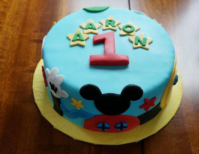 Mickey Mouse Theme First Birthday Cake In Blue For Boy