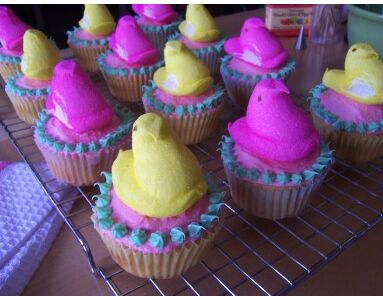 Colorful easter cupcakes with chicks.JPG