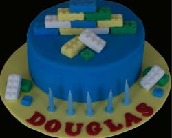 Blue lego birthday cake with lego bricks cake decor pictures.JPG