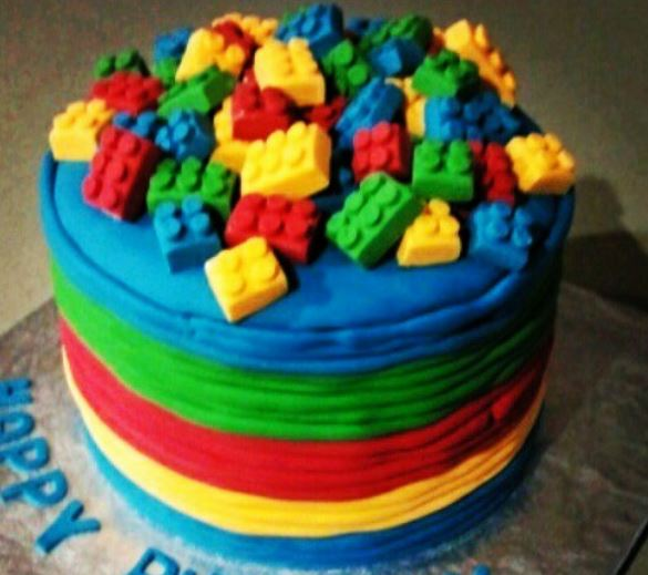Colorful lego cakes looks like fun lego birthday party supplies.JPG