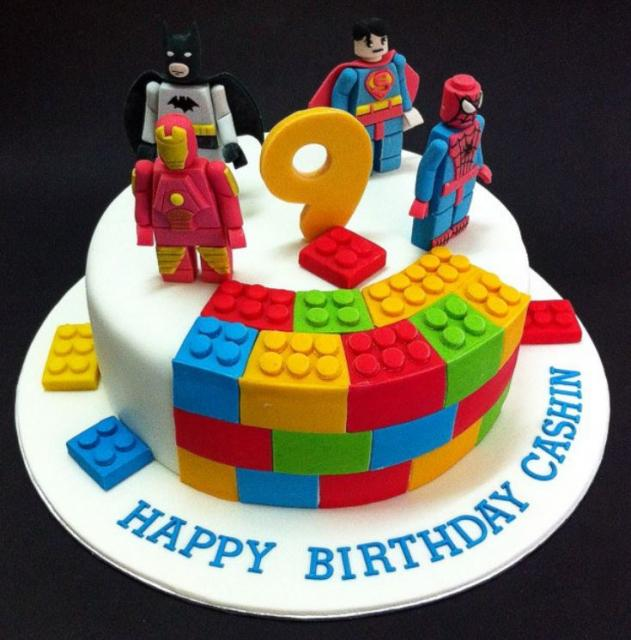 Lego Birthday Cakes With Lego Heroes Minifigures Cake